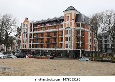 SVETLOGORSK, RUSSIA - MARCH 10, 2019: House in Svetlogorsk