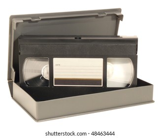sVHS or VHS videotape and a box, isolated over white background. Clipping path included