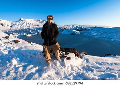 Svinafellsjokull glacier view during winter snow in Iceland