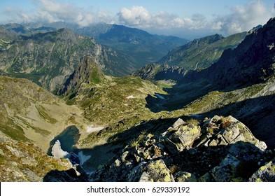 Svistova dolina and Zamrznute pleso in High Tatras (Slovakia). Hruba veza (Broad Tower) and Litvorove pleso on the left side. - Shutterstock ID 629339192