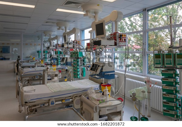 Svitavy, Czech Republic -September 20, 2012: Intensive care unit in hospital, beds with monitors, ventilators, a place where can be  treated patients with pneumonia caused by coronavirus covid-19.