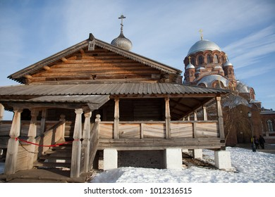 Sviyazhsk. Ioanno-Predtechensky Women's Monastery. Trinity Church and the Cathedral of Our Lady of Joy of All Who Sorrow. Tatarstan. Russia.
