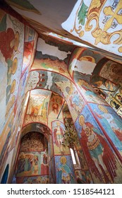 SVIYAZHSK, RUSSIA - AUGUST 20, 2019. Frescoes in the Assumption Cathedral of 16th century, located at the Sviyazhsk Assumption Monastery. Town of Sviyazhsk, Republic of Tatarstan, Russian Federation.