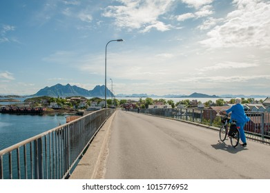 SVOLVAER, NORWAY - JULY 4: Scenic view from a bridge on July 4, 2011 in Svolvaer. Svolvaer is the administrative center of Lofoten and a busy trading and communications center.
