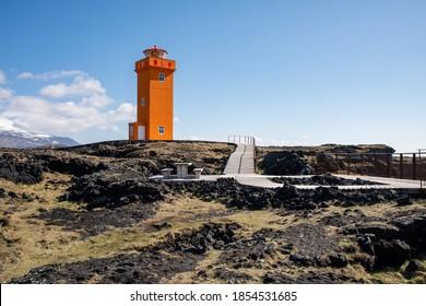 Svörtuloft, Svortuloft Lighthouse  at Snæfellsnes Peninsula in west iceland on a sunny spring day