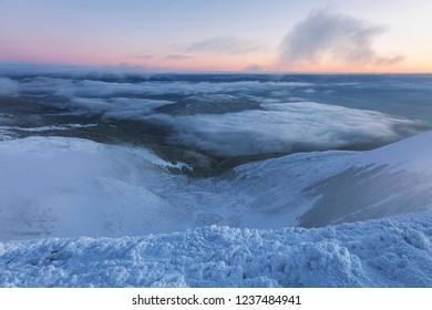 Svydovetsky ridge with the highest peak Blyznytsia covered with snow in the morning twilight, Carpathian biosphere reserve, Ukraine. Svydovetsky massif of the Carpathians in the winter