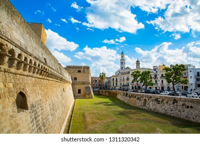 Swabian castle walls and city view in Bari, porvince Puglia, Italy
