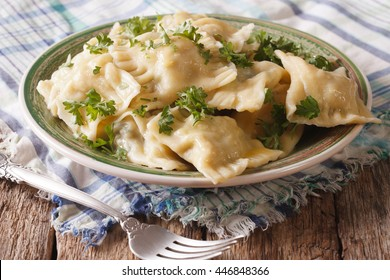 Swabian cuisine: Maultaschen dumplings stuffed with meat and spinach on a plate close-up. horizontal