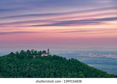 swabian jura alb panorama view down the valley with kirchheim teck and stuttgart, hiking location travel vacation