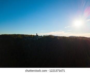 Swabian Jura - Arial at sunset with Lichtenstein Castle (Burg Lichtenstein) and Swabian Alb panorama