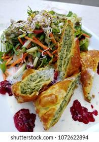 Swabian pockets German food with fresh delicious salad