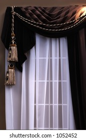swag curtains with sheers on window