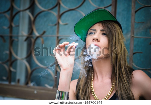 Swag Girl Smoke Coming Out Her Stock Photo Edit Now 166700546