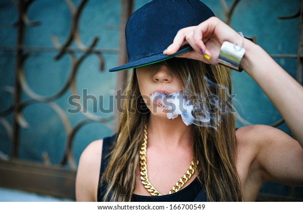 Swag Girl Smoke Coming Out Her Stock Image Download Now