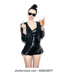 swag girl in sunglasses and black leather jacket  drinking beer