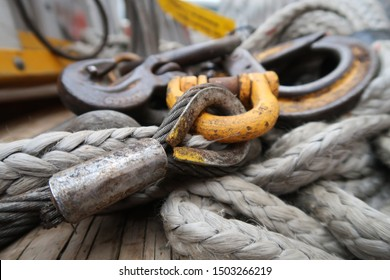 Swaged wire rope thimble eye attached to coupling link