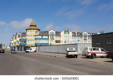 SWAKOPMUND, NAMIBIA - October 8, 2014: Street in Namibian city Swakopmund with beautiful colonial architecture. City was founded in 1892 as the main harbour of German South West Africa.