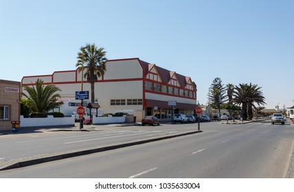 SWAKOPMUND, NAMIBIA - October 8, 2014: Street in Namibian city Swakopmund. City was founded in 1892 as the main harbour of German South West Africa.