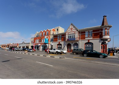 SWAKOPMUND, NAMIBIA - October 8, 2014: Colonial German architecture on stret of Swakopmund. City was founded in 1892, by Captain Curt von Francois as the main harbour of German South West Africa.