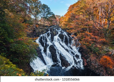 Swallow Falls at autumn. The most popular waterfall in North Wales, UK