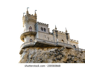 Swallow Nest castle on top of Aurora cliff in Crimea isolated on white background