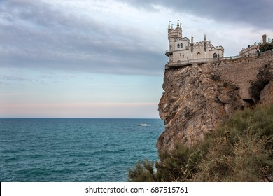 The Swallow's Nest Castle in Gaspra, in Crimea. Located  on Ai-Todor cape of Aurora Cliff
