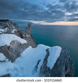 Swallow's Nest castle on the rock over the Black Sea in winter