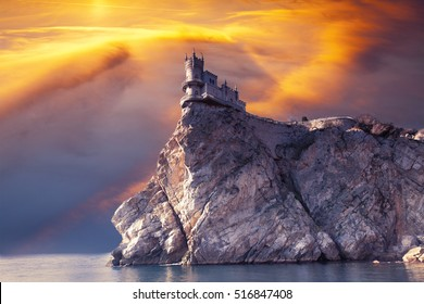 Swallow's Nest Castle on the rock in the Black seaon sunrise