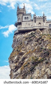 Swallow's Nest castle on a rock at Black Sea, Crimea, Russia. It is a symbol and landmark of Crimea. Nice view of Swallow's Nest at the precipice above abyss. Scene in the Southern coast of Crimea.