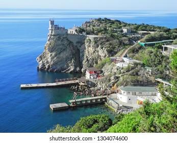 Swallow's Nest Crimea in sunny day. Panorama  Black Sea coast of Crimea with castle. landmark of Crimea