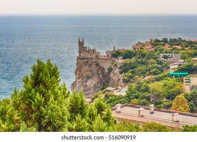Swallow's nest, scenic castle and iconic landmark over the Black Sea in Yalta, Crimea