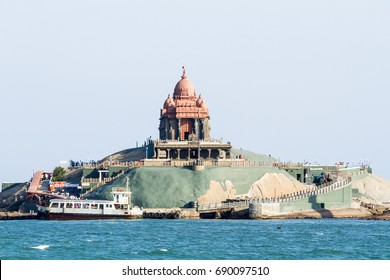 Swami Vivekananda Rock Memorial on the small island in Laccadive Sea - a famous tourist monument at a sunny day in Vavathurai, Kanyakumari, India