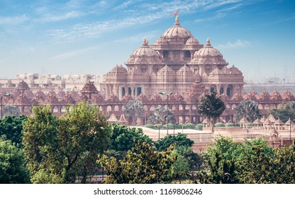 Swaminarayan Akshardham Temple New Delhi. Traditional Hindu and Indian culture, spirituality, and architecture. Famous touristic sight of India.