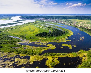 Swamp and siberian river Tom from aerial view. Tomsk, Russia