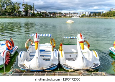 Swan boats on the Than Tho Lake in Dalat, Lam Dong province, Vietnam. Enjoyed strolls as the area's not too spacious to walk around.