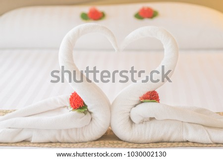 Swan Couple Put On Honeymoon Bed Stock Photo Edit Now 1030002130