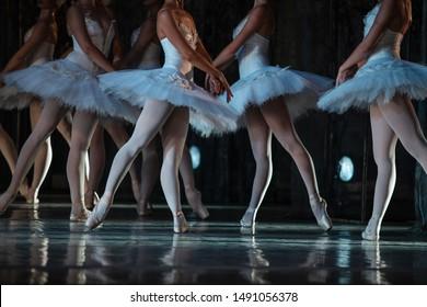 Swan Lake ballet. Closeup of ballerinas dancing