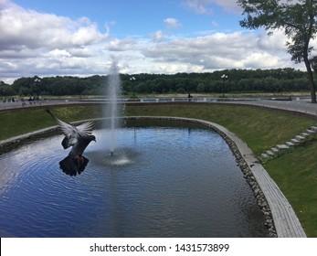 Swan Lake in the Gomel Park. Homel, Belarus