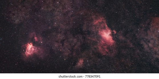 The Swan Nebula (Messier 17) and the Eagle Nebula (Messier 16) side by side