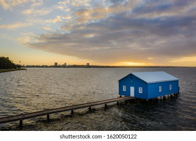 Swan River, Perth, Western Australia - Dec 28 2019: Aerial shot of the Crawley Boat House or Crawley Edge Boatshed on the swan river near King's Park.