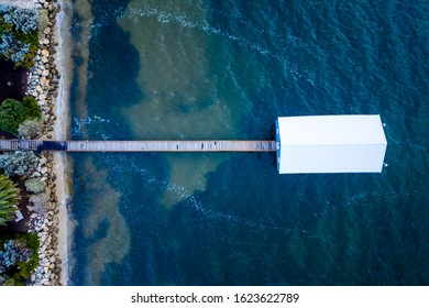 Swan River, Perth, Western Australia - Dec 28 2019: Overhead shot of the Crawley Boat House or Crawley Edge Boatshed on the swan river near King's Park.