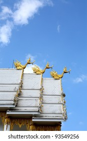 Swan statues on the roof at temple of the east, Thailand