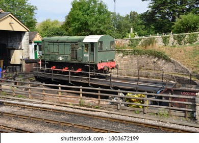 Swanage, Dorset/ United Kingdom- August 13 2020: A class 08 shunter on a turntable