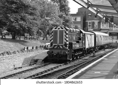Swanage, Dorset/ United Kingdom/ August 13 2020: A class 08 shunter at Swanage railway station.