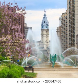 Swann Memorial Fountain With City Hall In The Background Philadelphia