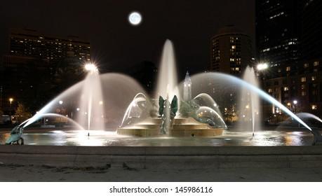 Swann memorial fountain downtown Philadelphia at night