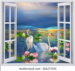 Swans on the lake with lilies