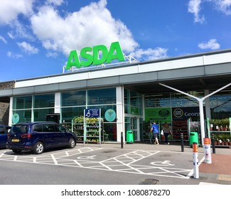 Swansea, UK: April 30, 2018: Asda Supermarket. Asda Stores Limited is an American-owned, British-founded supermarket retailer, headquartered in Leeds, West Yorkshire.