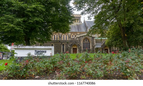 Swansea, UK - Aug 27, 2018: St Mary Church Facade low angle