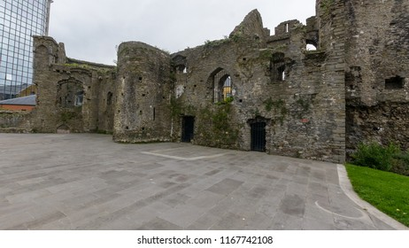 Swansea, UK - Aug 27, 2018: Swansea Castle Ruins of a 13th Century Castle, originally built in 1107